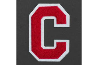 (C, Red/White) - Letter C - Chenille Stitch Varsity Iron-On Patch by pc, 10cm - 1.3cm , TR-11648 (Red/White)
