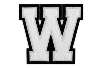 (W, White/Black) - Letter W - Chenille Stitch Varsity Iron-On Patch by pc, 10cm - 1.3cm , TR-11648 (White/Black)