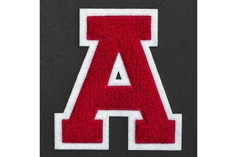 (A, Red/White) - Letter A - Chenille Stitch Varsity Iron-On Patch by pc, 10cm - 1.3cm , TR-11648 (Red/White)