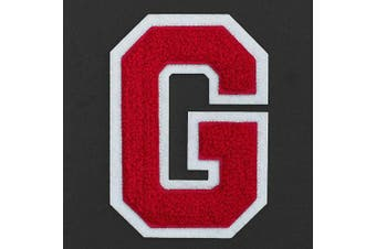 (G, Red/White) - Letter G - Chenille Stitch Varsity Iron-On Patch by pc, 10cm - 1.3cm , TR-11648 (Red/White)