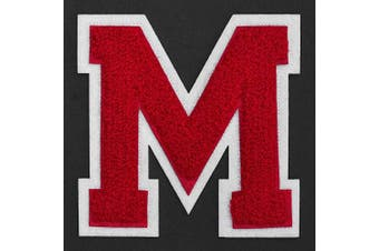 (M, Red/White) - Letter M - Chenille Stitch Varsity Iron-On Patch by pc, 10cm - 1.3cm , TR-11648 (Red/White)