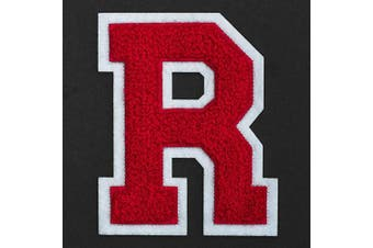 (R, Red/White) - Letter R - Chenille Stitch Varsity Iron-On Patch by pc, 10cm - 1.3cm , TR-11648 (Red/White)
