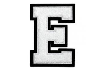 (E, White/Black) - Letter E - Chenille Stitch Varsity Iron-On Patch by pc, 10cm - 1.3cm , TR-11648 (White/Black)