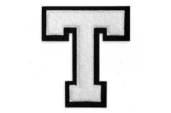 (T, White/Black) - Letter T - Chenille Stitch Varsity Iron-On Patch by pc, 10cm - 1.3cm , TR-11648 (White/Black)