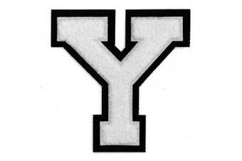 (Y, White/Black) - Letter Y - Chenille Stitch Varsity Iron-On Patch by pc, 10cm - 1.3cm , TR-11648 (White/Black)