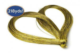 Bastex Metallic Gold String 200 Metres (218 Yards). Gold Cord for Jewellery, Thread for DIY Arts and Crafts, Twine for Gift Wrapping, Gifts, Wedding Decorations and More.
