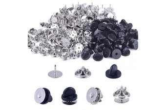 (10mm, Black,Silver) - BronaGrand 100 Pieces Copper Tie Tacks Blank Pins with 100 Pieces Butterfly Clutch Pin Backs