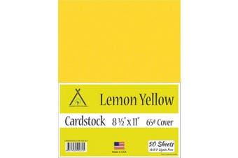 (22cm  x 28cm  - 50 Sheets) - Lemon Yellow Cardstock - 22cm x 28cm - 29kg Cover - 50 Sheets