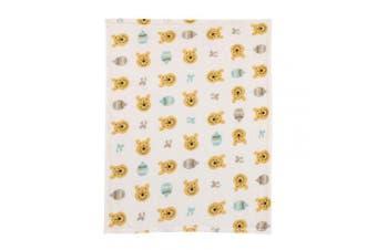 (Ivory, Yellow, Aqua) - Disney Winnie The Pooh, Ivory, Yellow And Aqua Super Soft Plush Baby Blanket, Ivory, Yellow, Aqua