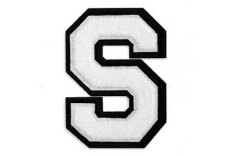 (S, White) - Letter S - 5.1cm - 1.3cm Chenille Stitch Varsity Iron-On Patch by pc, TR-12154 (White)