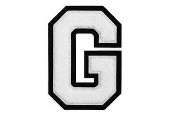 (G, White) - Letter G - 5.1cm - 1.3cm Chenille Stitch Varsity Iron-On Patch by pc, TR-12154 (White)