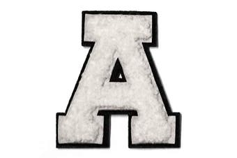 (A, White) - Letter A - 5.1cm - 1.3cm Chenille Stitch Varsity Iron-On Patch by pc, TR-12154 (White)