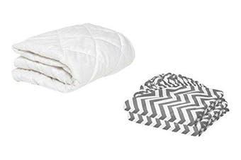 BKB Toddler Mattress Protector and 2 Chevron Sheets, Grey