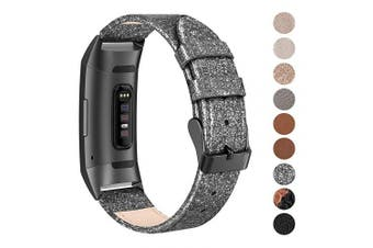 (Small: 14cm  - 19cm , 15. Glittering Black) - SWEES Leather Bands Compatible for Charge 3 & Charge 3 SE Fitness Tracker, Genuine Leather Band Strap Wristband Replacement for Women Men Small Large, Black, Rose Gold, Beige, Brown, Grey, Tan