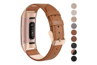 (Small: 14cm  - 19cm , 17. Classic Brown) - SWEES Leather Bands Compatible for Charge 3 & Charge 3 SE Fitness Tracker, Genuine Leather Band Strap Wristband Replacement for Women Men Small Large, Black, Rose Gold, Beige, Brown, Grey, Tan