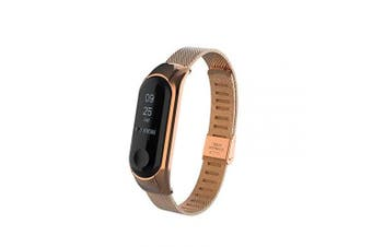 (Style1 Rose-Gold) - T-BLUER Replacement Wrist Stainless Steel Strap Wirstband for Xiaomi Mi Band 3 Smart Bracelet Accessories(No Tracker)