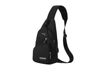 (New England Patriots) - CHNNFC NFL Unisex Black Sling Backpack Chest Bag Travel Hiking Daypack for Outdoor Sports Camping