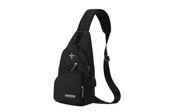 (New Orleans Saints) - CHNNFC NFL Unisex Black Sling Backpack Chest Bag Travel Hiking Daypack for Outdoor Sports Camping