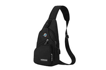 (Miami Dolphins) - CHNNFC NFL Unisex Black Sling Backpack Chest Bag Travel Hiking Daypack for Outdoor Sports Camping