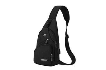 (Philadelphia Eagles) - CHNNFC NFL Unisex Black Sling Backpack Chest Bag Travel Hiking Daypack for Outdoor Sports Camping