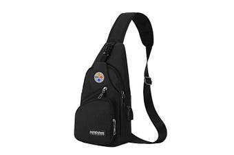(Pittsburgh Steelers) - CHNNFC NFL Unisex Black Sling Backpack Chest Bag Travel Hiking Daypack for Outdoor Sports Camping