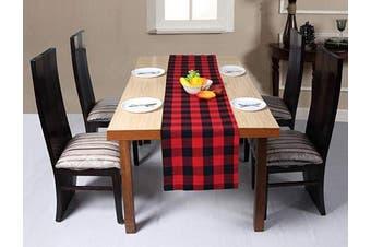 (16x108, Red Black) - Buffalo Plaid Cotton Table Runner 270cm Long,Plaid Cheque Table Runner, Farmhouse Table Runner, Rustic Bridal Shower Decor Table Runner, Wedding Table Runner-16x 108 Red/Black Set of 1