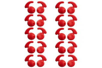 (Red) - 20 Pieces Silicone Earbud Covers Teemade Replacement Ear Hooks Tips Silicone Ear Gels Buds for Samsung Galaxy S7/S7 Edge /S6/S6 Edge Sports Earbuds (Red)