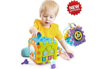 (Six Cube Music Toy) - ACTRINIC Baby Toys 6-18 month Baby Activity Cube Toy,6 in 1 Multipurpose Play Centre with Music.Shape Colour Sorter Beads Maze Toy.Best Gift Toys for Boys and Girls Toddlers Kids 1 2 3 4 Years Old