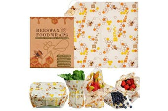 (Medium) - Warmfits Beewax Wraps Reusable Organic Food Wraps Eco Friendly Biodegradable Plastic Free Zero Waste Sustainable Storage for Sandwich, Cheese, Fruit, Bread, Snacks- Odour Free- Medium 25cm x 28cm