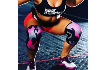 """(7mm - Small 9.5""""-11.5"""", Pink Camo) - Bear KompleX Compression Knee Sleeves, Fitness & Support for Workouts & Running. Sold in Pairs-Crossfit Training, Weightlifting, Wrestling, Squats & Gym Use. 5mm & 7mm Thick, Multicolor for Men & Women"""
