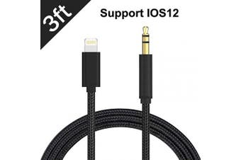 (Black) - Aux Cord for iPhone, 3.5mm Aux Cable Compatible with iPhone XR/X/8/8 Plus/XS Max/7 to Car Stereo/Speaker/Headphone Adapter, Support Newest iOS 11.4/12 Version or Above