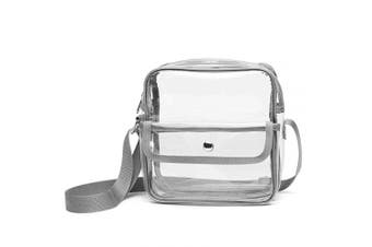 (Grey) - Clear Purse Stadium Approved for NFL, PGA, Clear Crossbody Bag for Women Men Concert School