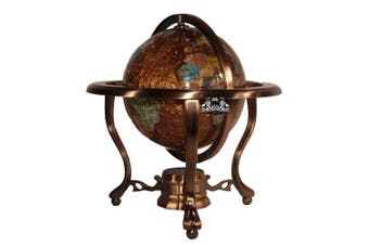 25cm Tall Amberlite Pearl Swirl Ocean Table Top Gemstone Globe with Tripod Copper Stand