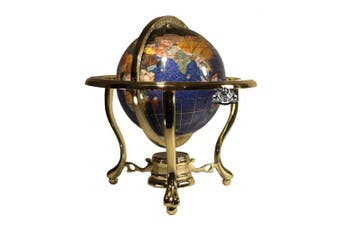 Unique Art 25cm Tall Table Top Blue Crystallite Ocean Gemstone World Globe with Gold Tripod Stand