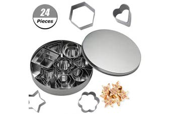 AIM Cloudbed Cookie Cutter Set, 24 PCS Stainless Steel Biscuit Cookies Cutters Moulds Flower, Heart, Strar, Geometric Shapes Best for DIY Baking Cake Decoration