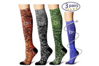 (Large/X-Large, Assorted1) - Bluemaple Compression Socks for Women & Men - Best for Running, Athletic Sports, Crossfit, Flight Travel -Maternity Pregnancy, Shin Splints - Below Knee High