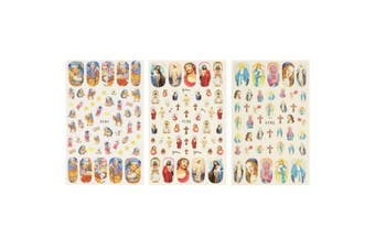 ALLYDREW 3 Sheets Life of Jesus Nail Art Life of Jesus Nail Stickers