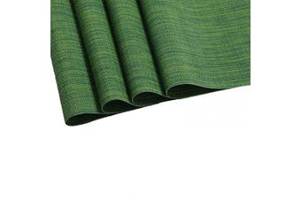 (4, Seaweed Green) - SHACOS Round Table Placemats Set of 4 Wedge Placemat Non Slip Woven Vinyl Table Mats Wipe Clean (4, Seaweed Green)
