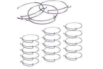 15 PCS Expandable Bangle Bracelet, Adjustable Wire Blank Bracelet Expandable Bangle for DIY Jewellery Making Chains, Silver