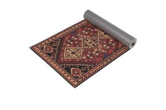 """(Tribal Red) - Ananda Premium Print Yoga Mat, 72"""" x 24"""" x ¼ Inch (6mm) Thick, Non Slip Anti-Tear Workout & Fitness Mat with Carrying Strap for Yoga, Pilates & Floor Exercises"""