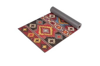 """(Tribal Illusion) - Ananda Premium Print Yoga Mat, 72"""" x 24"""" x ¼ Inch (6mm) Thick, Non Slip Anti-Tear Workout & Fitness Mat with Carrying Strap for Yoga, Pilates & Floor Exercises"""