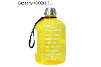 (1270ml, Yellow) - BuildLife 3.8l Water Bottle Motivational Fitness Workout with Time Marker/Drink More Daily/Clear BPA-Free/Large 3790ml 2160ml 1270ml Capacity