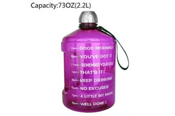 (2160ml, Purple) - BuildLife 3.8l Water Bottle Motivational Fitness Workout with Time Marker/Drink More Daily/Clear BPA-Free/Large 3790ml 2160ml 1270ml Capacity