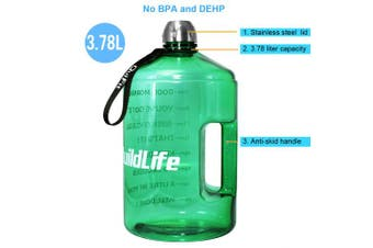 ( 3.8l, Light Green) - BuildLife 3.8l Water Bottle Motivational Fitness Workout with Time Marker/Drink More Daily/Clear BPA-Free/Large 3790ml 2160ml 1270ml Capacity