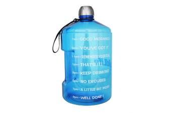 ( 3.8l, Light Blue) - BuildLife 3.8l Water Bottle Motivational Fitness Workout with Time Marker/Drink More Daily/Clear BPA-Free/Large 3790ml 2160ml 1270ml Capacity