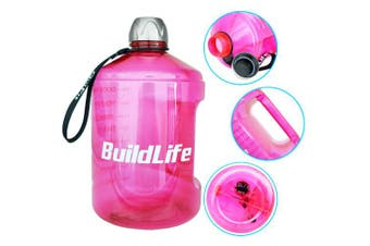 (2160ml, Pink) - BuildLife 3.8l Water Bottle Motivational Fitness Workout with Time Marker/Drink More Daily/Clear BPA-Free/Large 3790ml 2160ml 1270ml Capacity