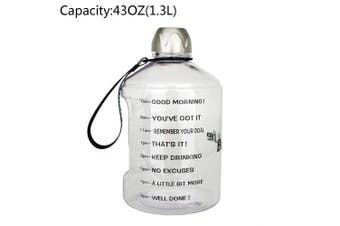 (1270ml, Transparent) - BuildLife 3.8l Water Bottle Motivational Fitness Workout with Time Marker/Drink More Daily/Clear BPA-Free/Large 3790ml 2160ml 1270ml Capacity