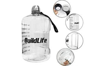 ( 3.8l, Transparent) - BuildLife 3.8l Water Bottle Motivational Fitness Workout with Time Marker/Drink More Daily/Clear BPA-Free/Large 3790ml 2160ml 1270ml Capacity
