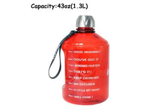 (1270ml, Red) - BuildLife 3.8l Water Bottle Motivational Fitness Workout with Time Marker/Drink More Daily/Clear BPA-Free/Large 3790ml 2160ml 1270ml Capacity