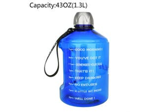 (1270ml, Blue) - BuildLife 3.8l Water Bottle Motivational Fitness Workout with Time Marker/Drink More Daily/Clear BPA-Free/Large 3790ml 2160ml 1270ml Capacity